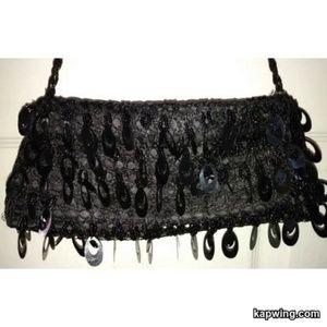Vintage Black Beaded Evening Handbag Purse